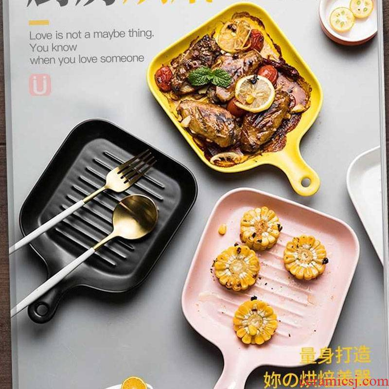Japanese good - & pan household ceramics steak creative Nordic ins with handle plate oven plate