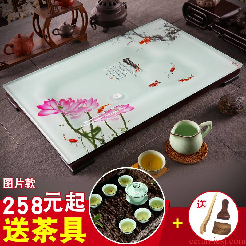 The high time home sitting room is I and contracted kung fu tea sets tea tray was toughened glass tea table ceramic rectangle