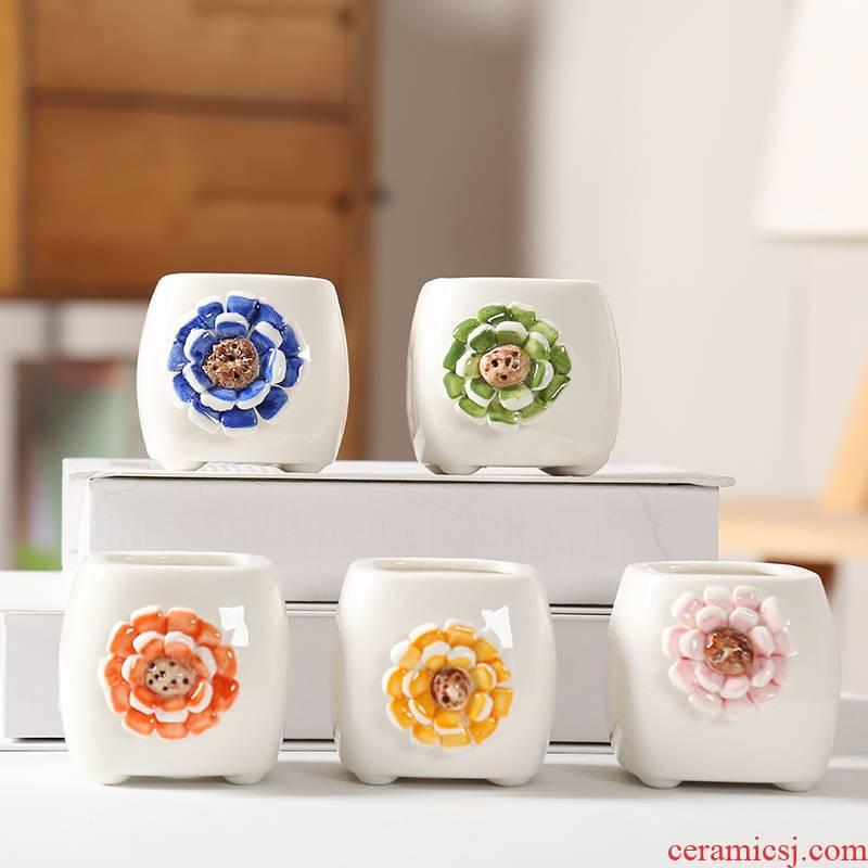 End pinch flower, white porcelain pot small Korean flowerpot breathable side basin, fleshy meat meat fine flower pot European simplicity