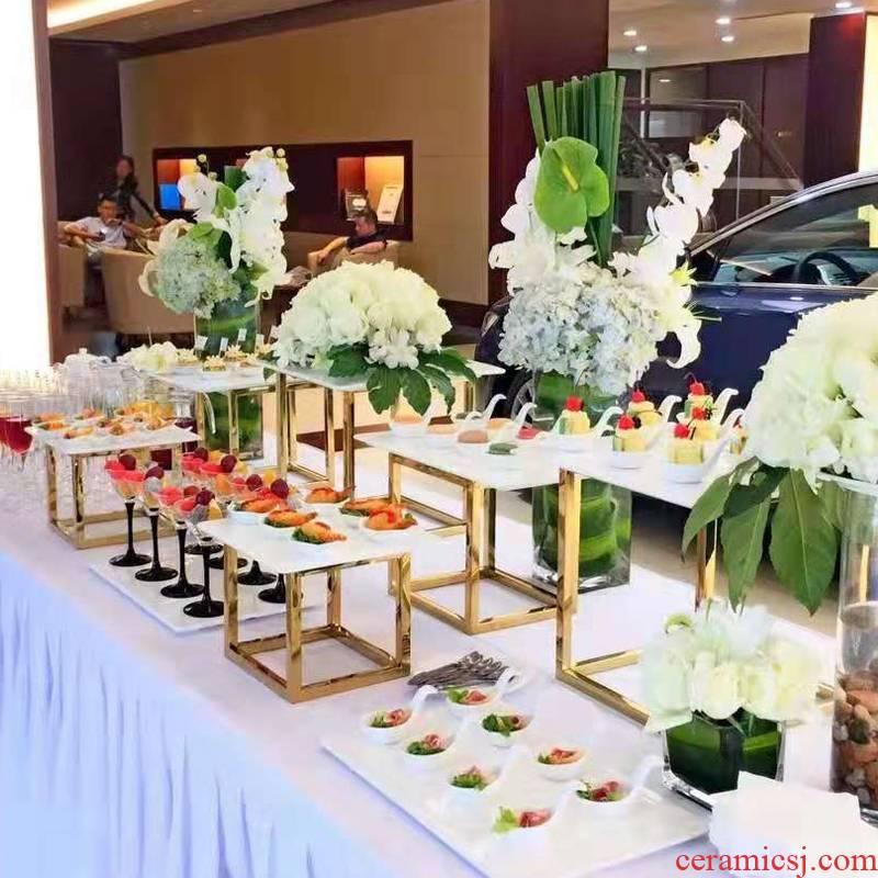Golden stainless steel dessert buffet dinner dessert station furnishing articles table tea ceramic plate display shelf