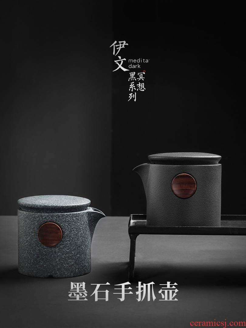 Even Japanese ceramic teapot household contracted hand grasp pot of kung fu tea tea tea, single pot filtering pot