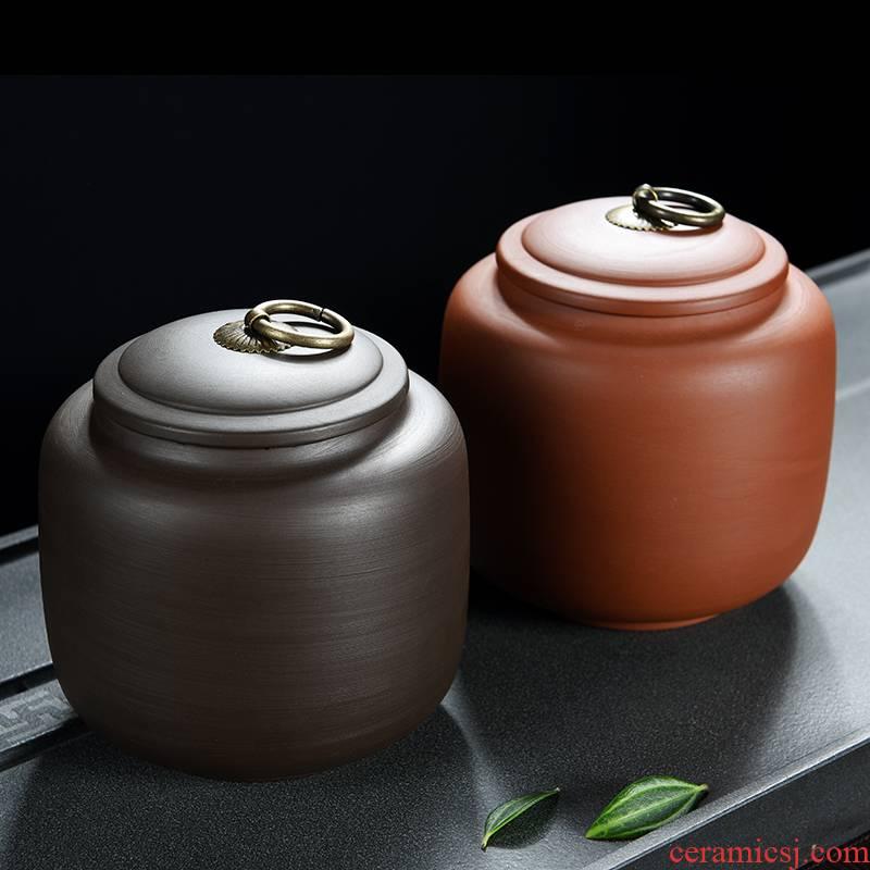 Large violet arenaceous caddy fixings storage tank in pu save tea tea POTS awake ceramic seal storage tank household packing box