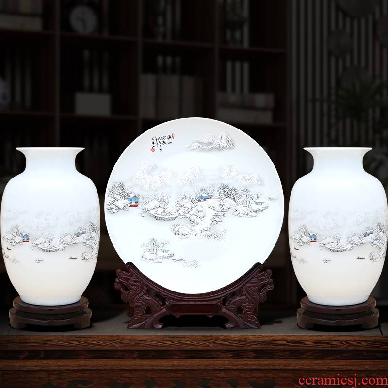 Jingdezhen ceramics Chinese vase furnishing articles home sitting room TV ark adornment ark, crafts three - piece suit