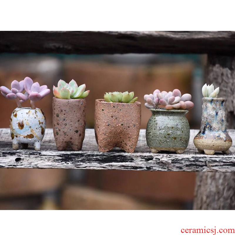 Coarse pottery flowerpot more meat retro flower pot hand knead ceramic small basin to defective hand of maifan stone flower pot