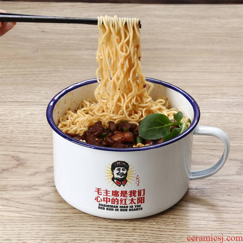 Bo view creative enamel single mercifully rainbow such as bowl with cover of instant noodles, dormitory large nostalgic old fastfood cups easy cleaning