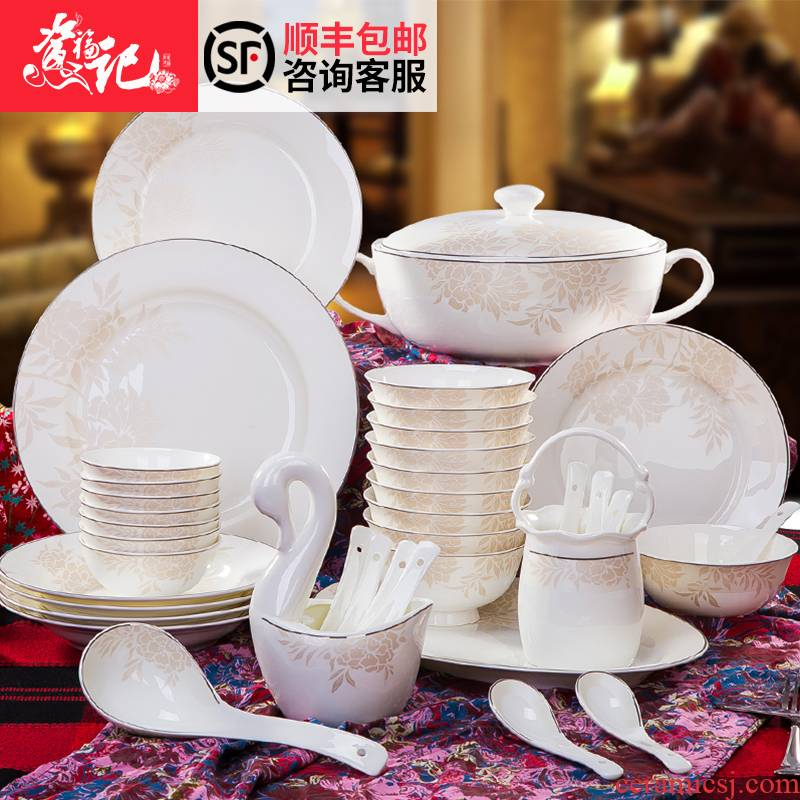 Jingdezhen tableware suit household of Chinese style simple ipads bowls set tableware new heat insulation bowl combination dishes suit