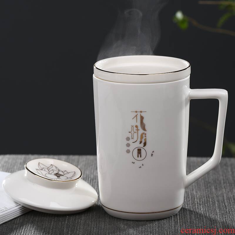 Jingdezhen ceramic filter cup personal glass office cup creative mugs household porcelain cup with cover the make tea cup