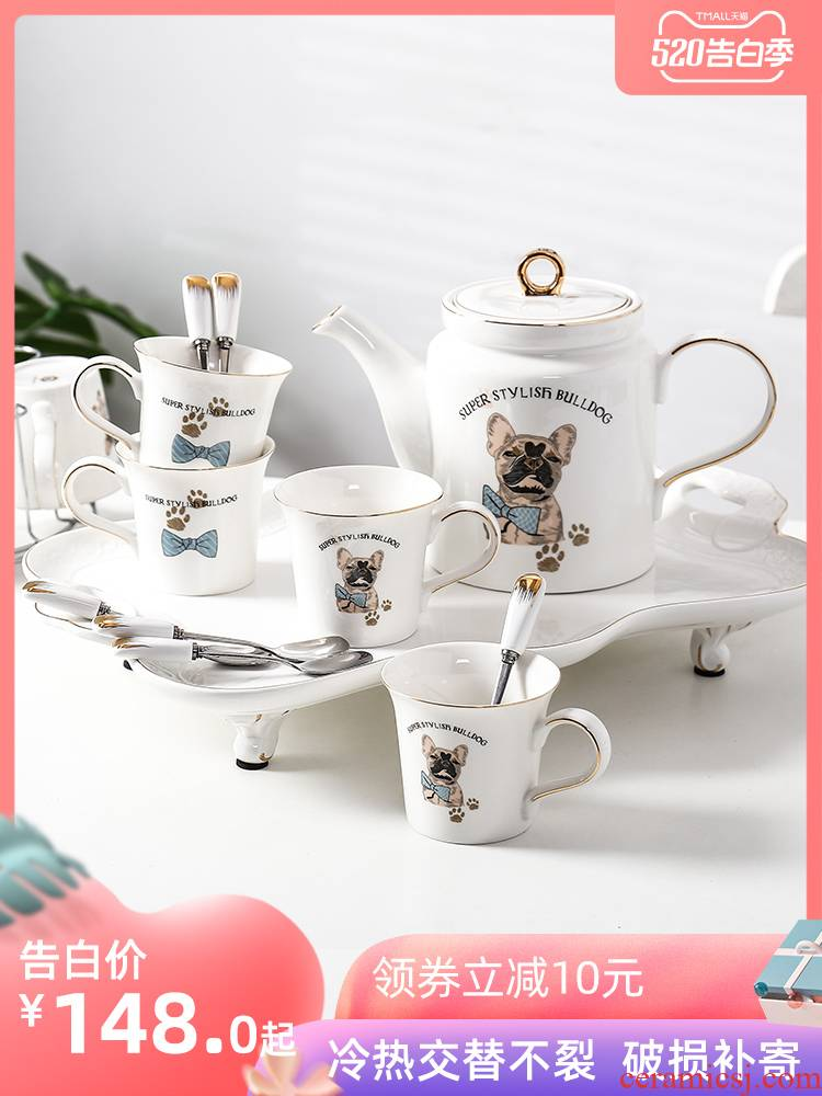 Household glass suits for ceramic cup tray was sitting room with European heat - resisting teapot teacup cold water kettle suit