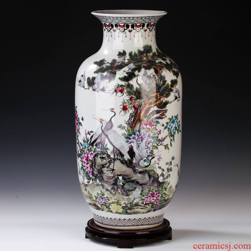 Jingdezhen ceramics powder enamel antique Chinese pine crane live idea gourd vase of large sitting room adornment is placed