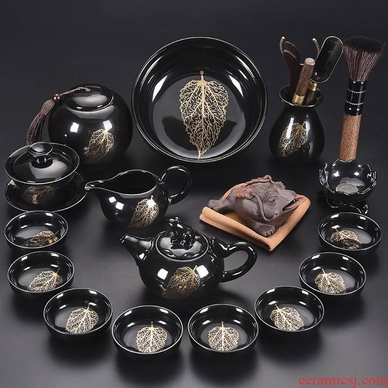 Tao blessing black temmoku built light tea set home building light gold konoha teapot lamp of a complete set of tea cups