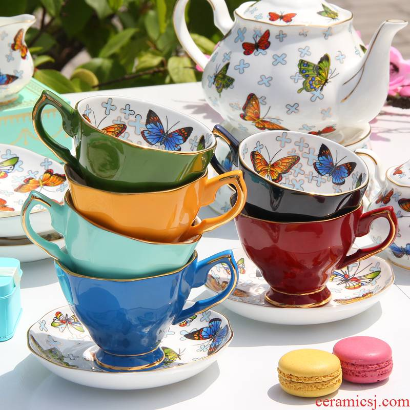 Goods to transport ipads porcelain coffee cup suit European American English afternoon tea set small key-2 luxury pottery red tea cups and saucers