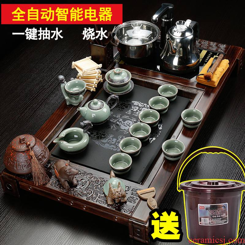 Back on a complete set of kung fu tea set four ceramic home tureen violet arenaceous electric furnace and solid wood tea tray