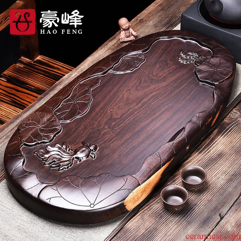 HaoFeng ebony tea tray household contracted the whole piece of solid wood tea tray, black rosewood tea tea tray tray log restore ancient ways