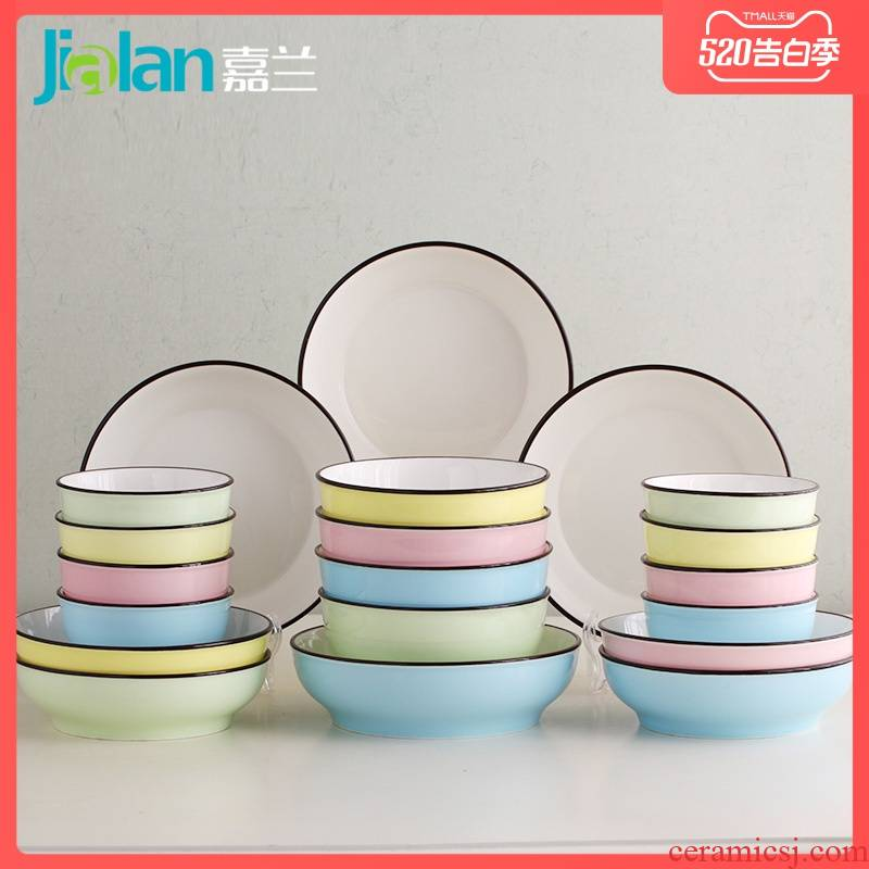 Garland ceramic dishes suit household ideas under the glaze color combination 20 plate suit Japanese contracted to use