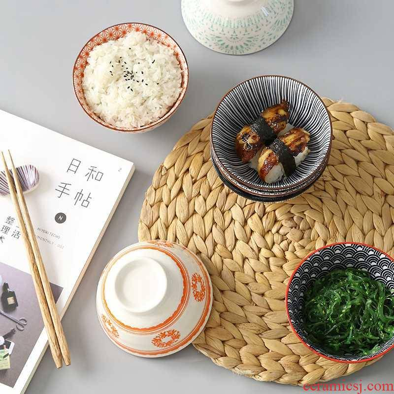 "Web celebrity single Japanese thread to use of household to eat sweet and wind ceramic salad bowl 4.5 ""dormitory rice bowls"
