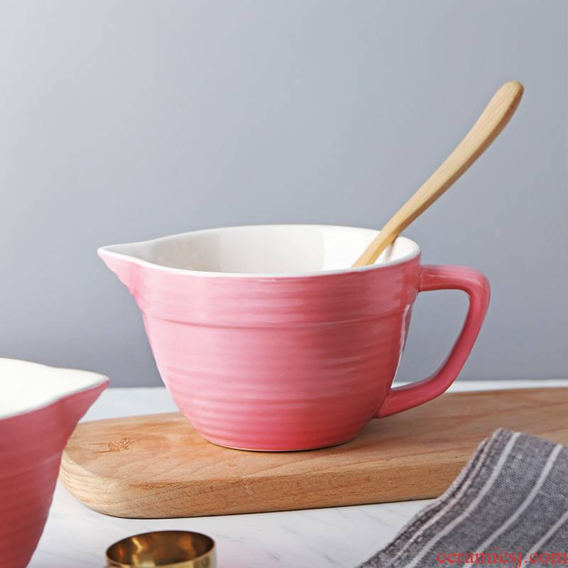 Web celebrity small ceramic bowl of egg bowl for adjustable batter drainage belt mixing bowl with the handle food bowl