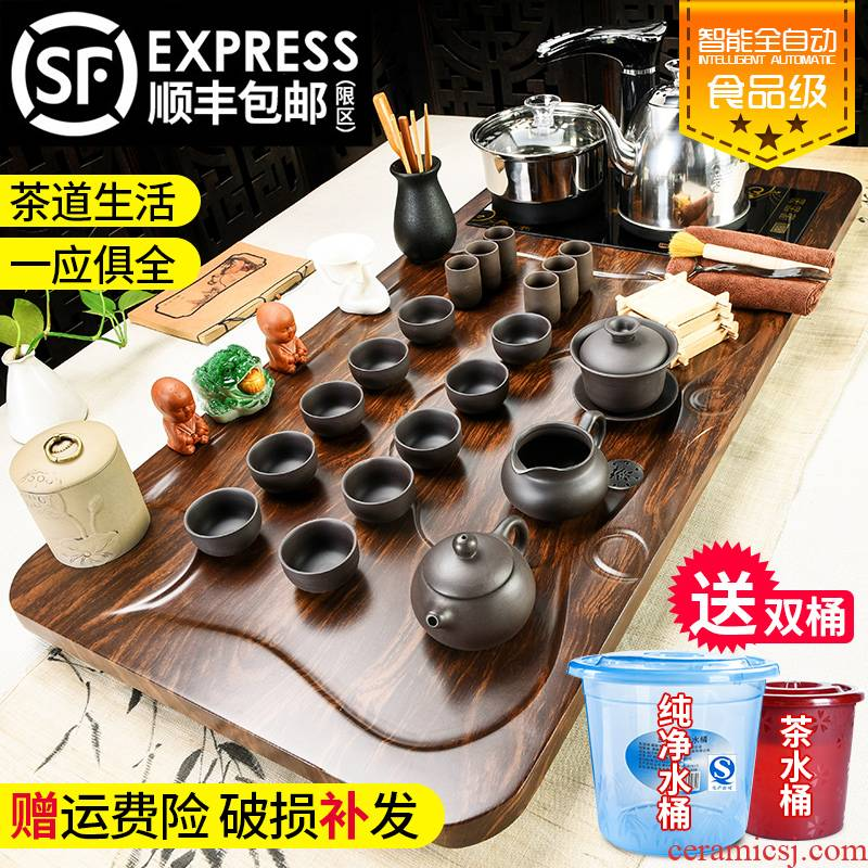 Household celadon porcelain god kung fu tea set solid wood tea tray was contracted the joining together of four automatic teapot tea cups