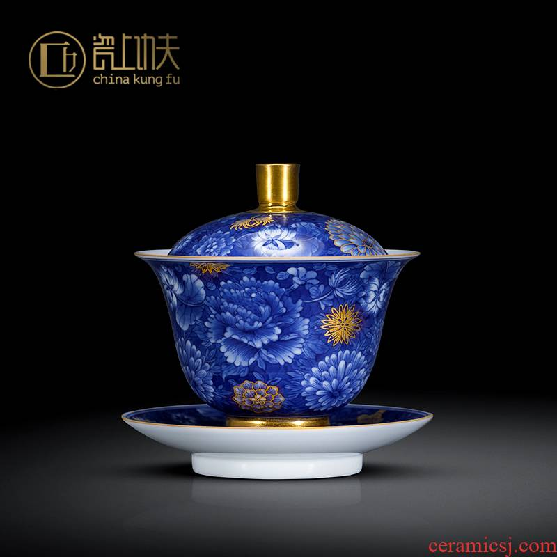 Jingdezhen blue and white flower three tureen only single hand - made ceramic craft paint heavy kung fu tea bowl bowl