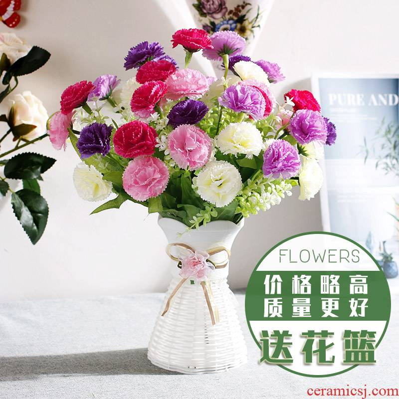 Yellow green plant furnishing articles simulation flowers, pink flowers, flowers I silk flowers red large sitting room tea table is contracted