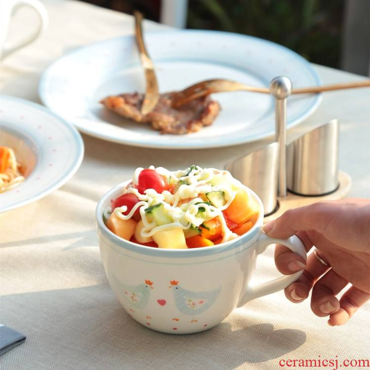 Lew Joh * * s in English countryside dry breezed chicken chicken ceramic bowl, lovely home food bowl bowl dishes