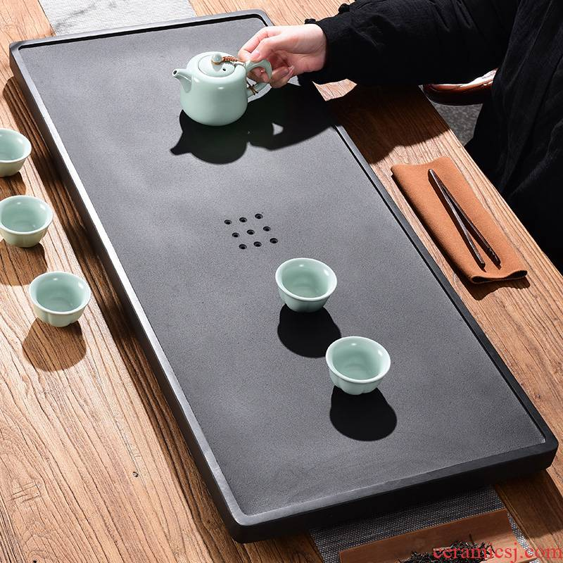 Tao blessing sharply stone tea tray was home drainage contracted sitting room the whole piece of black gold stone tea tray tea table can be customized