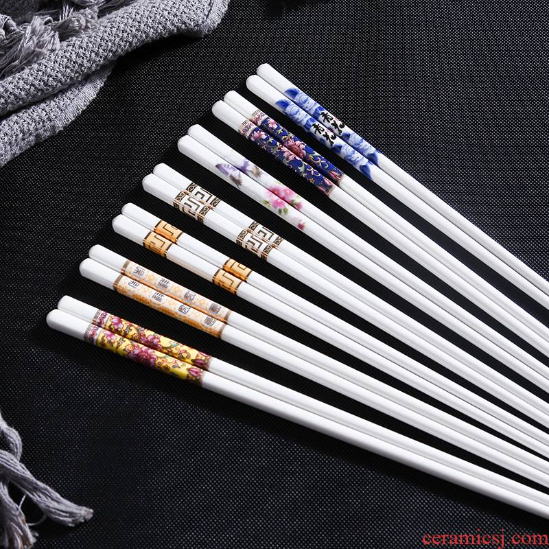 Suit household European - style key-2 luxury moistureproof mildew prevent slippery ceramic chopsticks high - temperature 10 pairs of chopsticks gift boxes