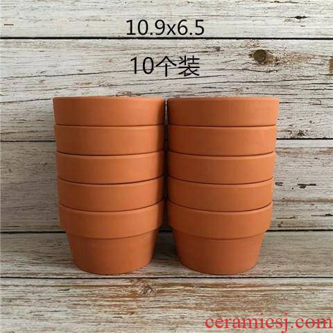 Short basin of red pottery clay flowerpots platter of large diameter, fleshy biscuit firing flowerpot coarse pottery shallow basin to the leaf cutting clearance package mail