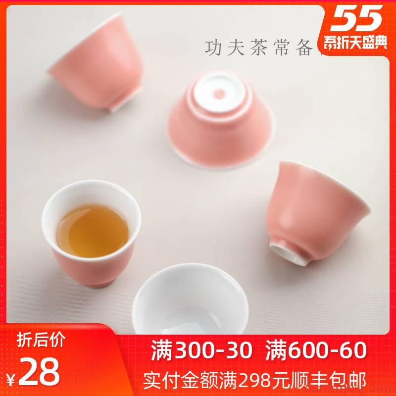 "Bright tea cup ""women 's singles jingdezhen ceramic kung fu tea master cup cup pink bowl sample tea cup of creative individuals"