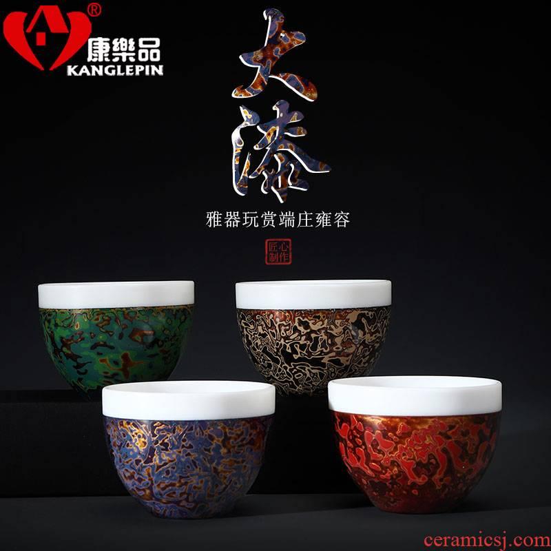 Recreational product lacquer ware jingdezhen ceramic cup tea tea set keep artist Wang Cunxu big white porcelain collection certificate
