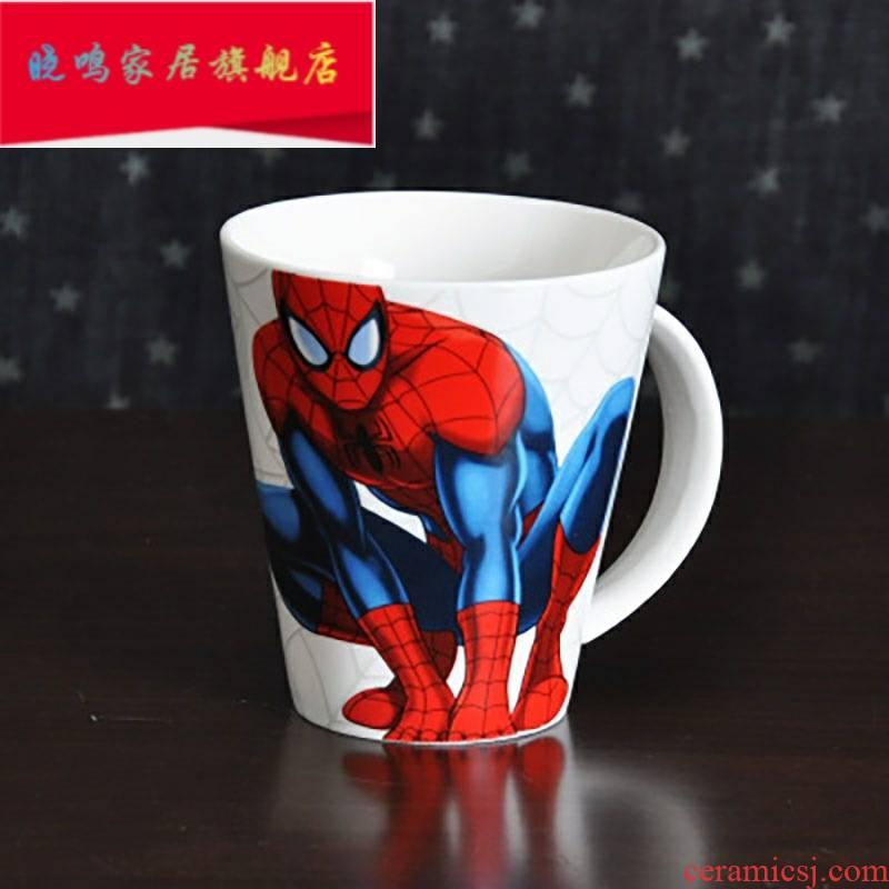 Mark cup elementary school children cartoon art glass boy cup cartoon creative ultimately responds some ceramic porcelain spider - man 1 L