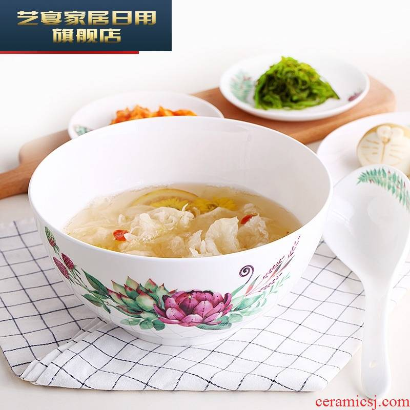 """Eight bowls 7/8 """"jl ipads soup bowl large capacity domestic ceramic bowl rainbow such use practical soup basin"""