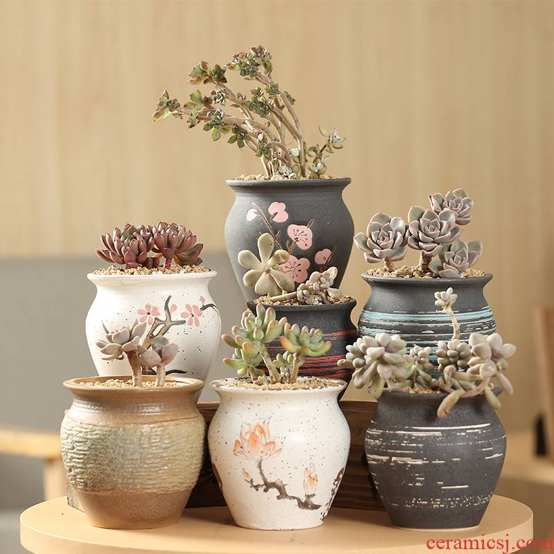 Zhuang zi end coarse pottery, fleshy flowerpot breathable special offer a clearance indoor small fleshy Zhuang zi flowerpot pack mail of large diameter