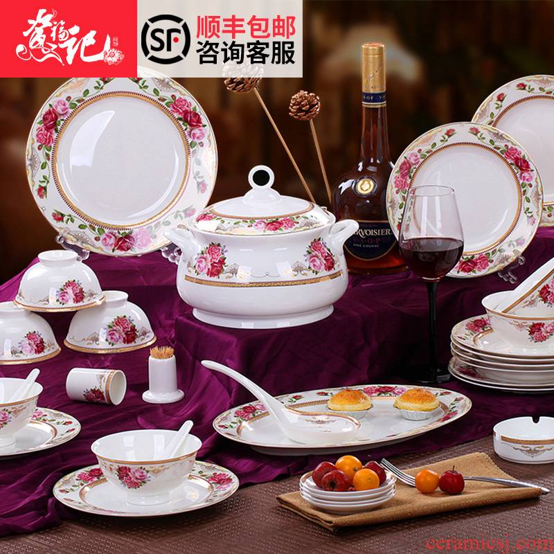 Jingdezhen 56 skull bowls plates suit ipads porcelain ceramics tableware suit household of Chinese style wedding dishes
