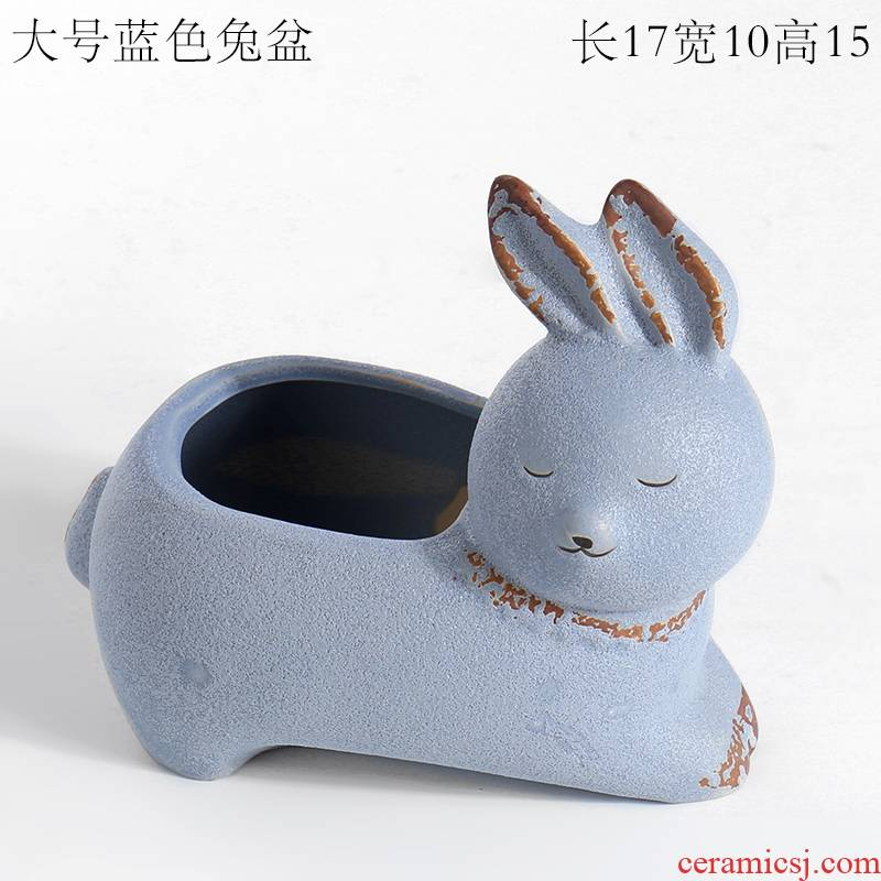 Through my pockets ceramic blue meaty plant pot ware ceramic creative move northern wind elephant rabbit fox furnishing articles