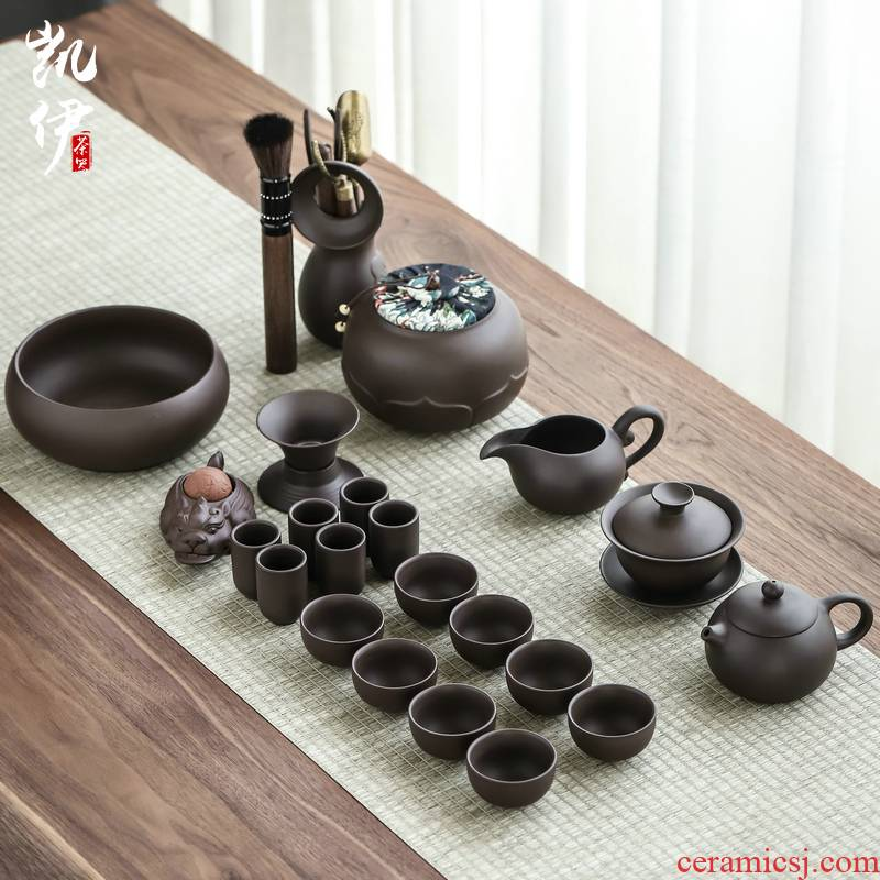 Undressed ore violet arenaceous kung fu tea set xi shi teapot 6 gentleman teapot tea caddy fixings tea suit household washing