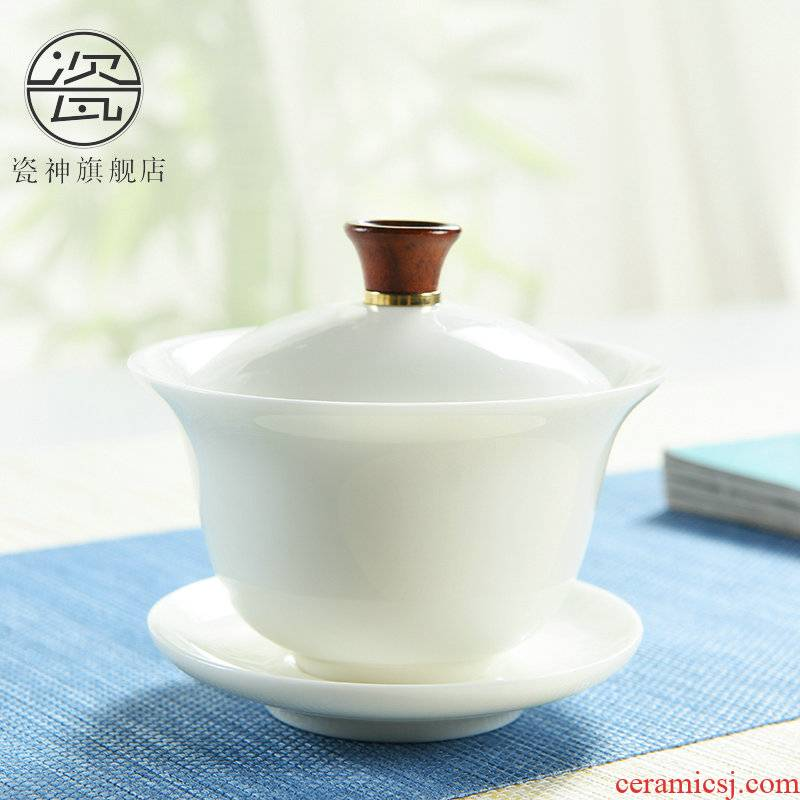 Porcelain high contracted dehua white tureen ceramic jade Porcelain worship god always kung fu tea tureen ivory white three cups