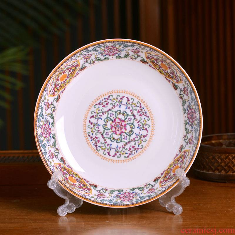 Jingdezhen ceramic deep dish dish Chinese style household ipads porcelain soup rice nest dish dish fruit bowl archaize tableware single plate
