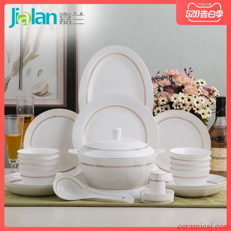 Garland 56 skull porcelain western - style tableware suit wedding gifts contracted household dishes suit ceramic dishes full set