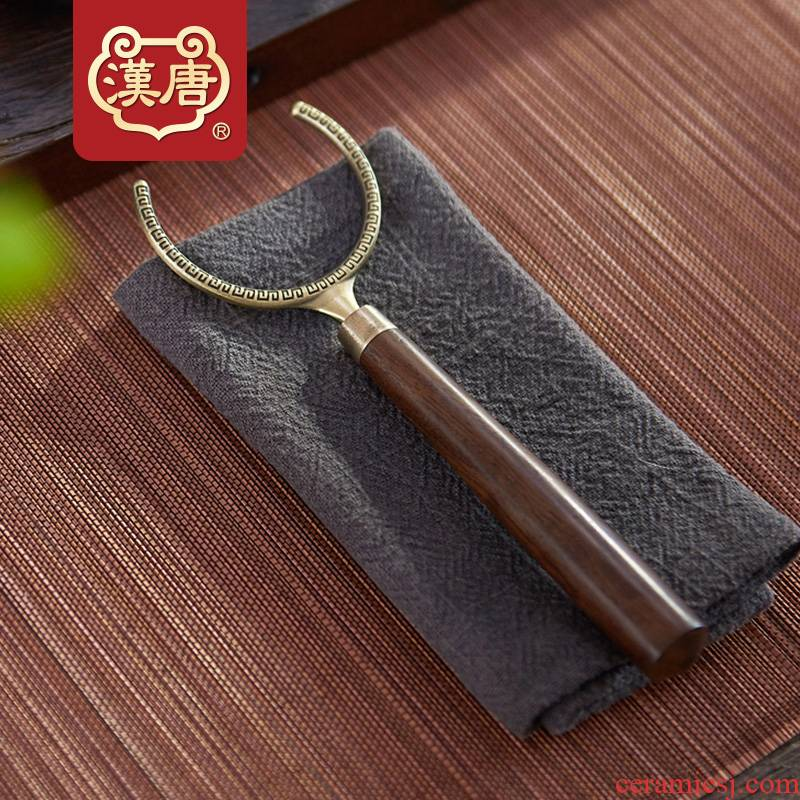 Han and tang dynasties kung fu tea taking with zero manual wood size any zinc alloy tea cup fork fork cup tea saucer