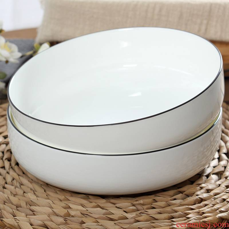 Deep plate household dish plate ipads porcelain salad plate microwave ceramics with cover new soup steamed egg bowl dish of capacity