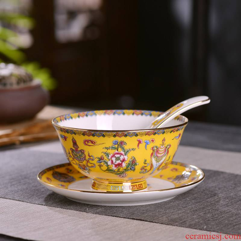 Chinese style household ipads porcelain of jingdezhen ceramics rice bowls set spoon plate small combination suit archaize sweet dishes