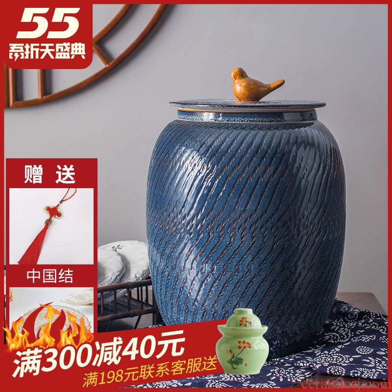 30 kg to ceramic barrel rice bucket with cover tank flour 20 jins home sweet rapeseed oil seal storage cylinder tank
