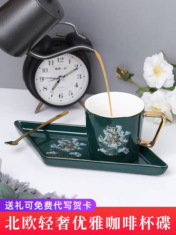 E best European ins coffee cup dish suits for its little key-2 luxury ceramic tea keller with spoon