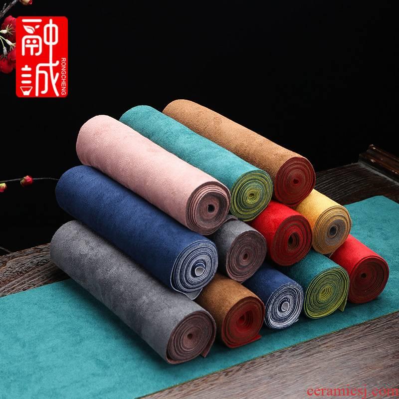 Deerskin flocking zen tea table tea art Chinese waterproof tea tray mat cotton and linen cloth table flag tea bamboo cloth