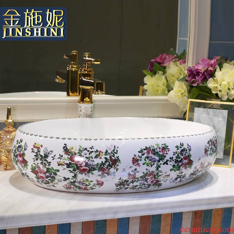 Gold cellnique rural wind on the lavatory ceramic lavabo sink basin of wash one 's hands of art on the color