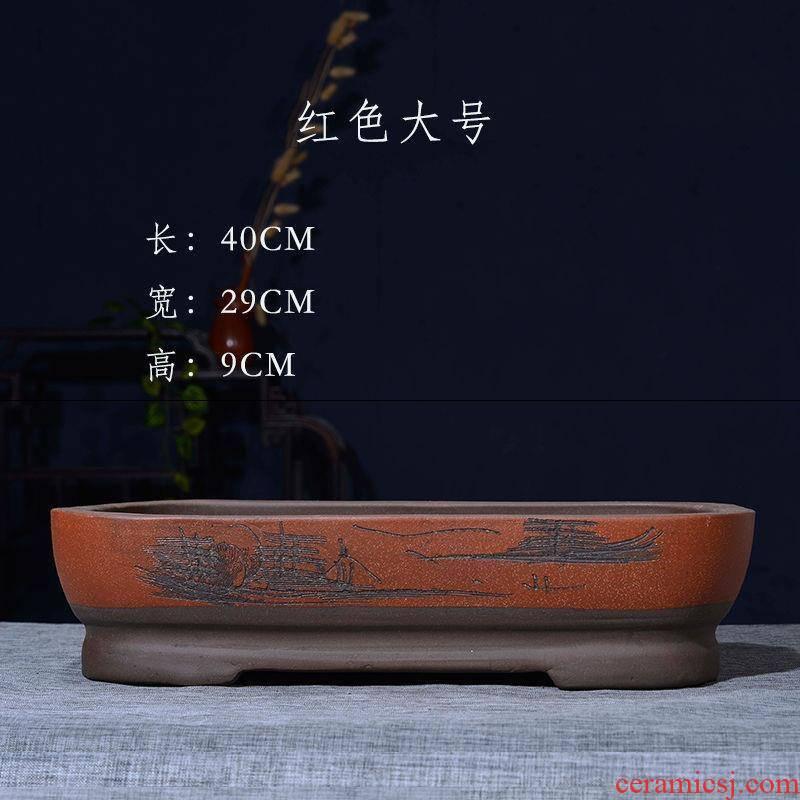 Violet arenaceous basin bottom rectangle bonsai POTS without hole, artificial rockwork basin ceramic water stone flower pot