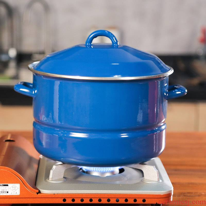 Boutique Raspberry 】 【 nostalgic enamel steamer monolayer with cover large capacity send steamed piece of induction cooker