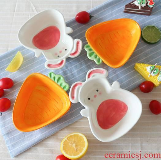 Jingdezhen express cartoon rabbit turnip ceramic bowl of snack fruit bowl dessert bowl bowl of the little white rabbit