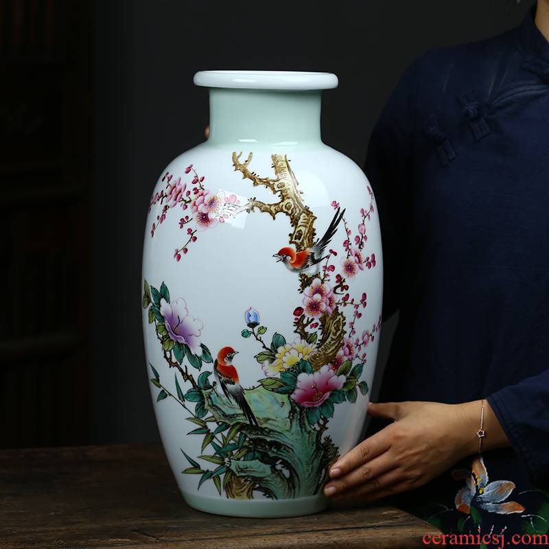 Jingdezhen ceramics hand - made pastel Chinese name plum flower on large vases, TV ark, porch handicraft furnishing articles