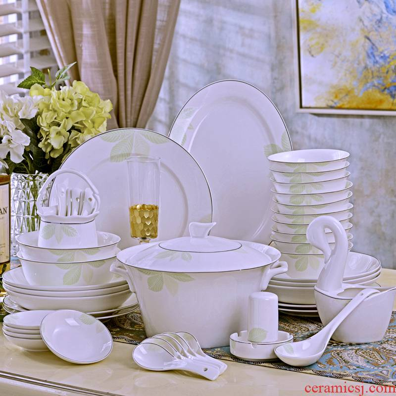 Open tableware suit 60 key-2 luxury jingdezhen bowls of ipads plate chopsticks head suit tall bowl of malachite green and cool and refreshing with a gift